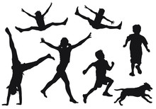 Vector Silhouettes Of Children...
