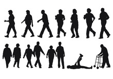 Vector Silhouettes Of Senior C...