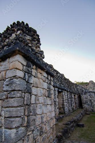 Old Grey Stone Wall Ruins at Dusk