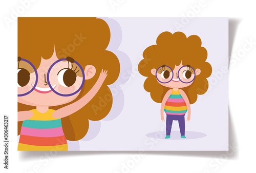 Cartoon Character Animation Cute Little Girl With Glasses And Curly Hair Buy This Stock Vector And Explore Similar Vectors At Adobe Stock Adobe Stock