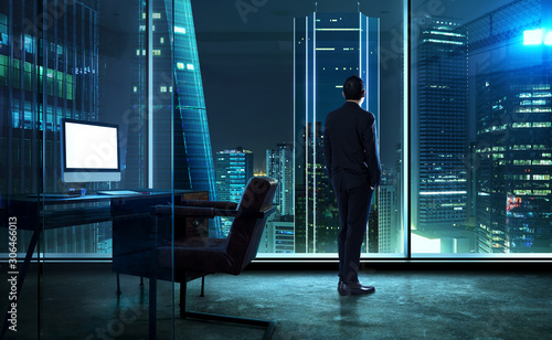 Fotografie, Obraz Businessman standing in office watching city night view .
