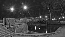 Smolensk, Russia, Gorbaty Bridge On Pond With Streetlights, Autumn Evening In Park Lopatin Garden