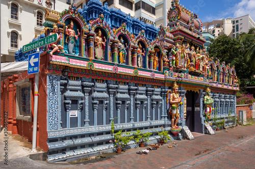 Facade of Sri Krishnan Hindu temple in Singapore Wallpaper Mural