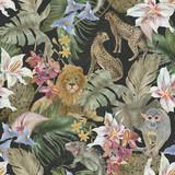 Akwarela bezszwowe wzór z pięknymi tropikalnymi kwiatami i afrykańskimi zwierzętami: lew, gepard, małpa, iguana - 306468207