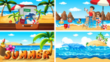 Four Background Scenes With Summer On The Beach