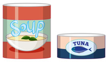 Cans Of Soup And Tuna On White...