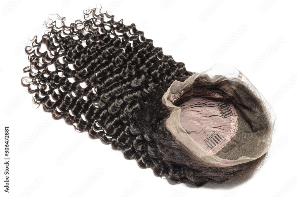 Fototapeta curly black human hair weaves extensions lace wigs