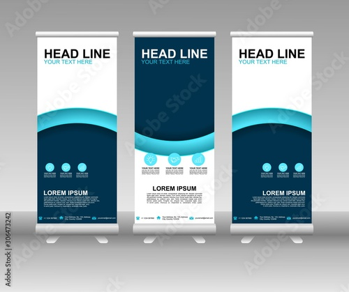 Blue Roll up banner stand. Vertical Vector template design. Modern Flag Banner Design with abstract background can be used for Annual Report, Cover, Flyer, Magazine, Presentation, Poster, Website Wall mural