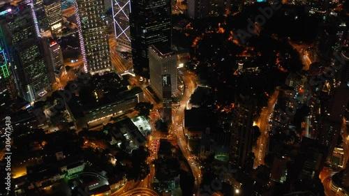 Stampa su Tela  Aerial view of Hong Kong Skyline at night