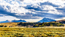 The Gallatin Mountain Range With Electric Peak Under Later Afternoon Sun. Viewed From The Grand Loop Road Near Mammoth Hot Springs In Yellowstone National Park, Wyoming, United States