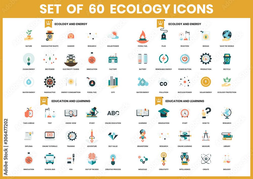 Fototapeta energy icons set for business