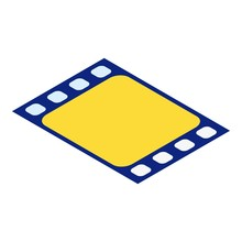Yellow Film Icon. Isometric Of Yellow Film Vector Icon For Web Design Isolated On White Background