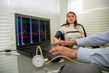 Woman In Polygraph Test With M...