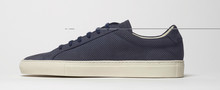 Navy Blue Sneakers With White Base And White Background