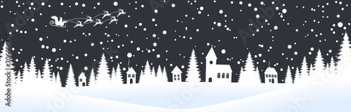 Recess Fitting Gray traffic christmas landscape background with village and snow