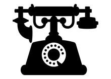 Retro Black Phone / Antique / Silhouette