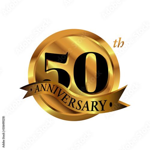 Photo 50th anniversary vector logo illustration