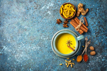 Healthy Drink Of Golden Turmeric Milk With Spices
