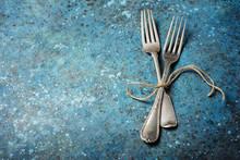 Two Vintage Silver Fork