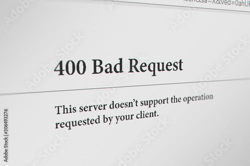 Fotografia  Web Browser with  400 bad request Error Message
