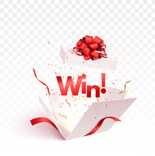 Open Gift Box With Confetti Burst Explosion Isolated. Winner 3d Vector Background.