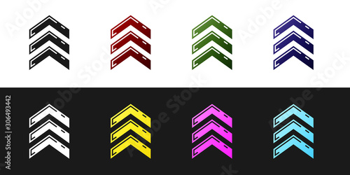Set Military rank icon isolated on black and white background. Military badge sign. Vector Illustration