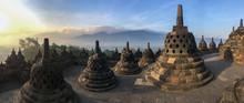 Panorama Of Borobudur Sacred Temple, Stunning Ancient Temple With Black Stone Bells (stupa) In Yogyakarta, Java, Indonesia.