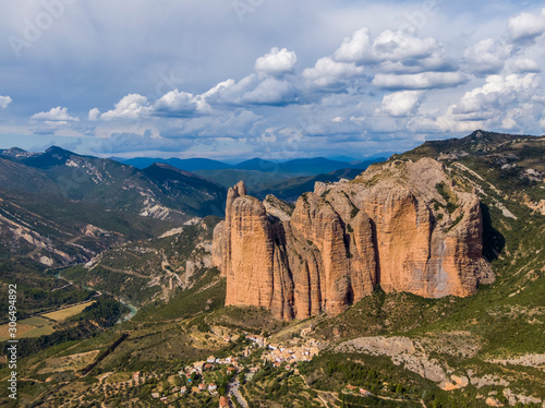 Valokuvatapetti Aerial view of the Mallos de Riglos, a set of conglomerate rock formations in Sp