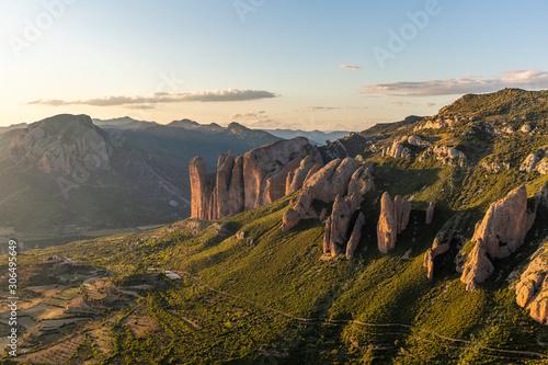 Mallos de Riglos, a set of conglomerate rock formations in Spain Fototapeta