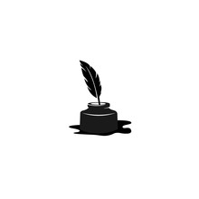 Quill Icon, Ink Bottle And Qui...