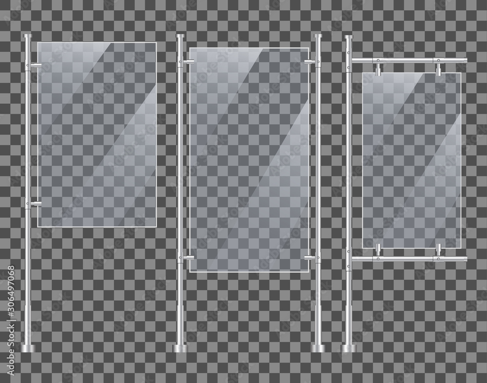 Fototapeta Acrylic glass stand mockup for advertising. Blank display board with reflection. Design vertical metal stand. 3d poster with holder on isolated background. Silver vertical table screen. vector