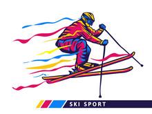 Colorful Ski Sport Illustration With Skier Motion