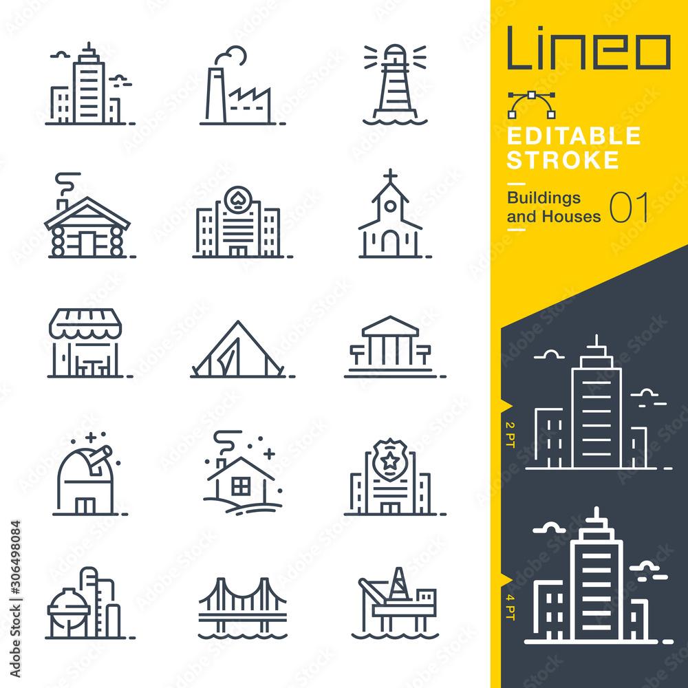 Fototapeta Lineo Editable Stroke - Buildings and Houses outline icons