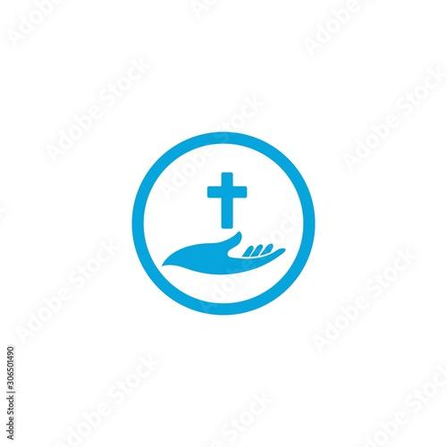 Hands holding Cross, icons or symbols Fototapeta