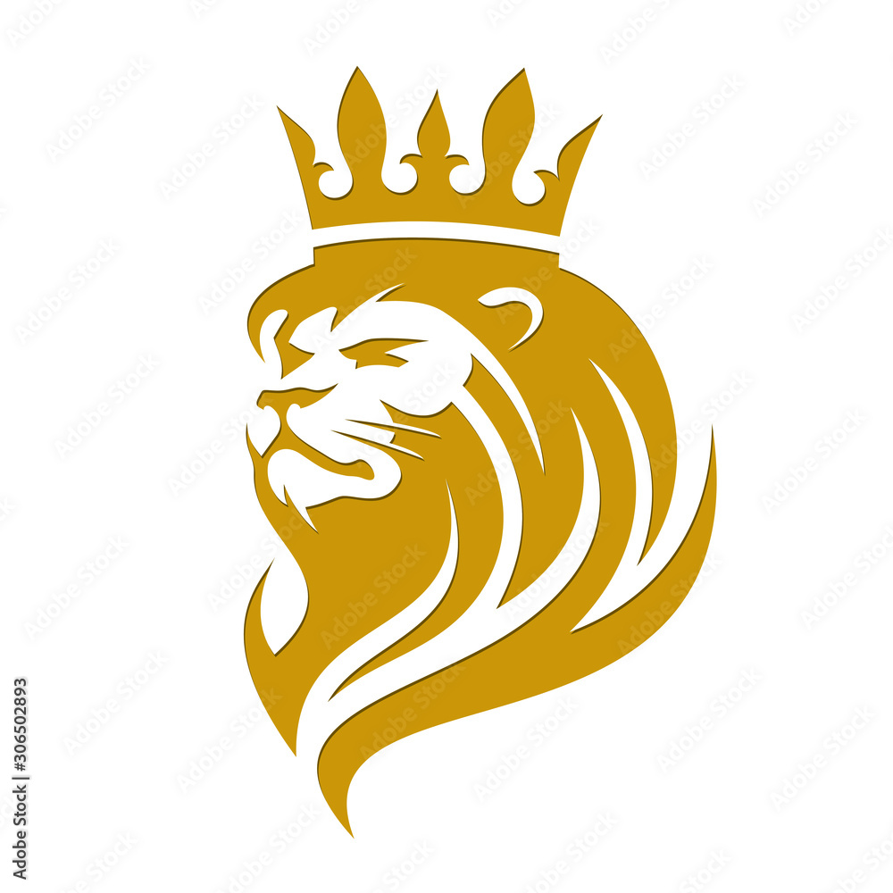 Fototapeta Lion in a crown on a white background in vector EPS8