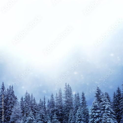 Rechteckiger Hintergrund für Weihnachten, Winter, Neujahr mit viel Textfreiraum- Canvas Print