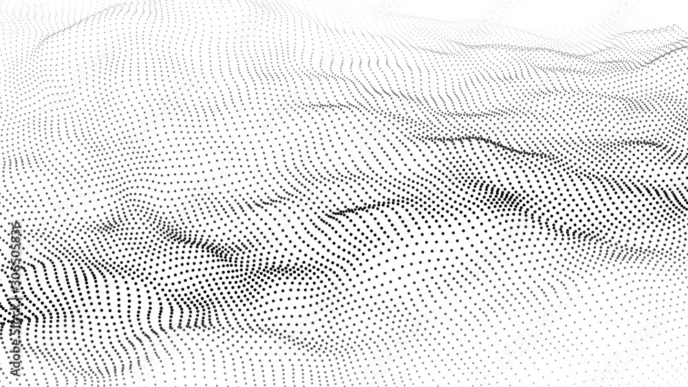 Abstract wave in white background. Wave of particles. Vector illustration.