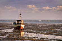 Boats On Mudflats At Low Tide,...