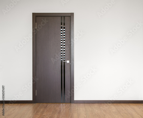 wooden door in empty room copy space photography Wallpaper Mural