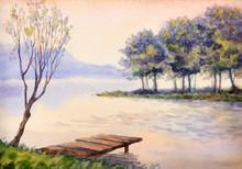 Watercolor Landscape. Sunset O...