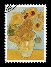 Van Gogh Sunflowers Stamp