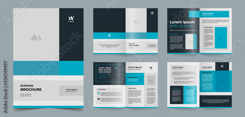 Photo modern blue brochure pages template