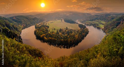 Fototapeta Famous view on Vltava river at sunset, Czech Republic. obraz