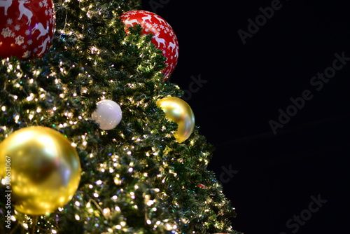 Close up christmas tree and black background