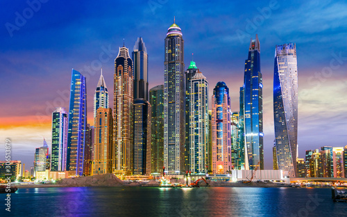 Modern residential architecture of Dubai Marina, UAE Wallpaper Mural