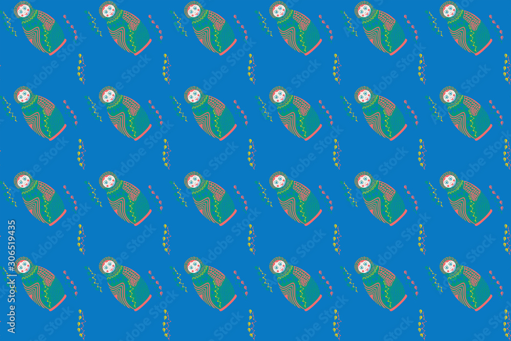 Seamless pattern. Multi-colored flat nesting dolls, leaves and circles on a blue background. Vector.