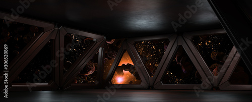 Photo sci fi  corridor with view of space galaxy 3d rendering