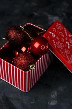 Tin Box With Christmas Red Balls