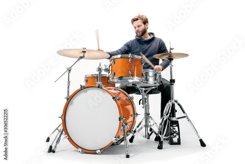 Orangenes Schlagzeug mit Schlagzeuger Wallpaper Mural