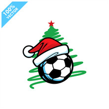 Soccer Football Santa Hat With Christmas Tree Background Logo Vector